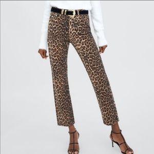 NWT Zara leopard print high waist jeans
